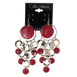 Dangle-Earrings Silver-Tone & Pink Metal #LQE2982