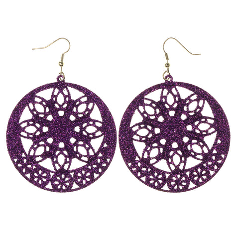 Glitter Sparkle Dangle-Earrings Purple Color #LQE2985