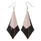 Black & White Colored Metal Dangle-Earrings #LQE3261