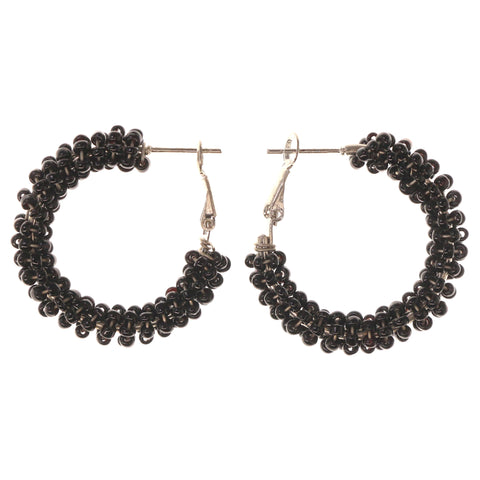 Black & Silver-Tone Colored Metal Hoop-Earrings With Bead Accents #LQE3356