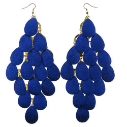 Sparkle Glitter Chandelier-Earrings Blue & Gold-Tone Colored #LQE355