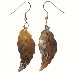 Shell Leaf AB Finish Dangle-Earrings Brown & Silver-Tone Colored #LQE3593