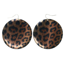 Leopard Dangle-Earrings Brown & Black Colored #LQE3616