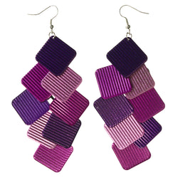 Purple & Pink Colored Metal Chandelier-Earrings #LQE3673