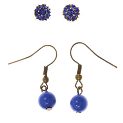 Stud and Dangle  Earring-Set With Bead Accents Blue & Gold-Tone Colored #LQE3999