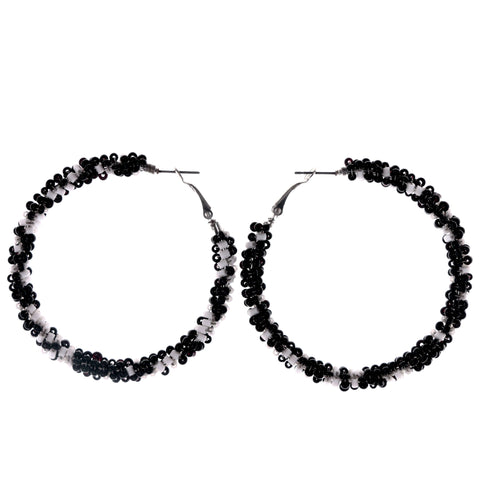 Black & White Colored Metal Hoop-Earrings With Bead Accents #LQE4022