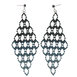 Blue & Green Colored Metal Chandelier-Earrings With Crystal Accents #LQE412