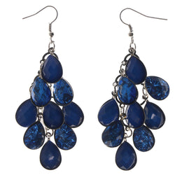 Blue & Silver-Tone Colored Metal Chandelier-Earrings With Crystal Accents #LQE414