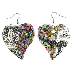 Heart Dangle-Earrings With Bead Accents Brown & Multi Colored #LQE4260