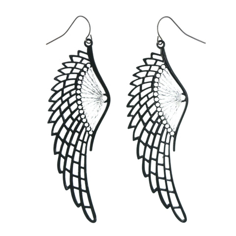 String Art Angel Wings Dangle-Earrings Black & Silver-Tone Colored #LQE4276
