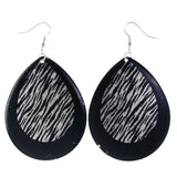 Zebra Stripe Dangle-Earrings Black & Silver-Tone Colored #LQE4280