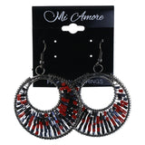 Black & Red Colored Metal Dangle-Earrings With Bead Accents #LQE4320