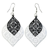 Black & White Colored Metal Dangle-Earrings #LQE4379