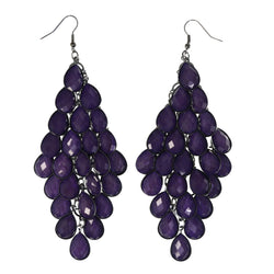 Purple & Silver-Tone Colored Metal Chandelier-Earrings With Bead Accents #LQE4479