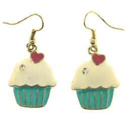 Heart Cupcake Dangle-Earrings With Crystal Accents Blue & Pink Colored #LQE459