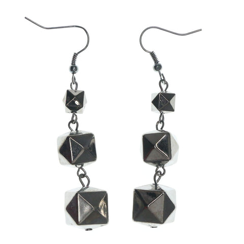 Silver-Tone Acrylic Drop-Dangle-Earrings With Bead Accents #LQE873