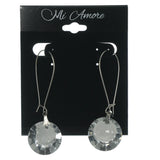 Silver-Tone Metal Drop-Dangle-Earrings With Crystal Accents #LQE902