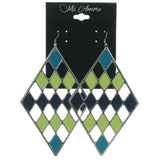 Silver-Tone & Multi Colored Metal Dangle-Earrings #LQE911
