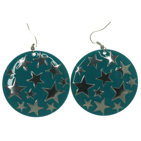 Star Dangle-Earrings Blue & Silver-Tone Colored #LQE922
