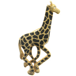 Giraffe Exotic Brooch-Pin With Crystal Accents Gold-Tone & Black Colored #LQP1185