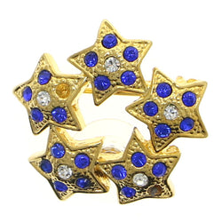 Stars Brooch-Pin With Crystal Accents Gold-Tone & Blue Colored #LQP1202