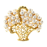 Filigree Basket  Brooch-Pin With Bead Accents White & Gold-Tone Colored #LQP1237