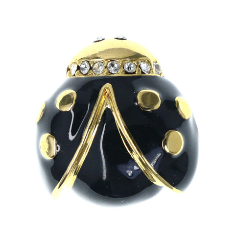 Lady Bug Brooch-Pin With Crystal Accents Black & Gold-Tone Colored #LQP1238