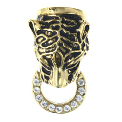Cheetah Doorbell Knocker Convertible Pendant Brooch-Pin With Crystal Accents Gold-Tone & Black Colored #LQP1252