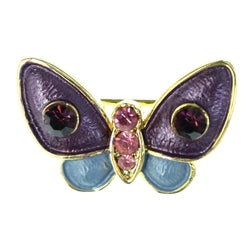 Butterfly Brooch-Pin With Crystal Accents Colorful & Gold-Tone Colored #LQP1254