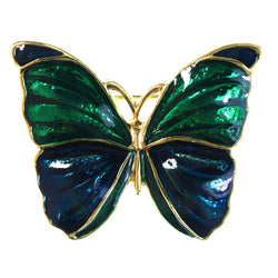 Butterfly Brooch-Pin Green & Blue Colored #LQP1255