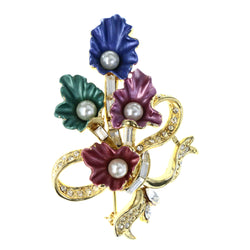 Flower Bouquet Ribbon Brooch-Pin With Crystal Accents Gold-Tone & Multi Colored #LQP1256