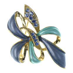 Bow Brooch-Pin With Crystal Accents Blue & Gold-Tone Colored #LQP1257