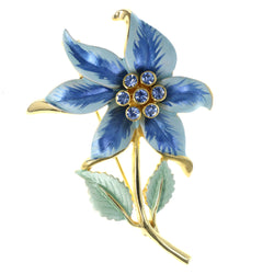 Flower Leaf Brooch-Pin With Crystal Accents Blue & Gold-Tone Colored #LQP1259
