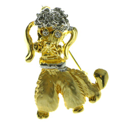 Poodle Brooch Pin With Crystal Accents Gold-Tone & Silver-Tone Colored #LQP125