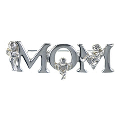 Mom Cherub Brooch-Pin Silver-Tone Color  #LQP1277