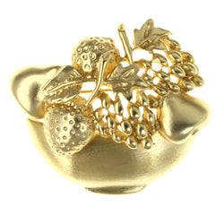 Fruit Bowl Brooch-Pin Gold-Tone Color  #LQP1281