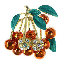 Cherry Leaf AB Finish Brooch-Pin With Crystal Accents Colorful & Gold-Tone Colored #LQP1293