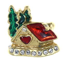 House Tree Heart Brooch-Pin With Crystal Accents Gold-Tone & Multi Colored #LQP1317