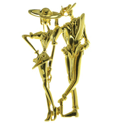 Man And Woman Brooch Pin Gold-Tone Color  #LQP136