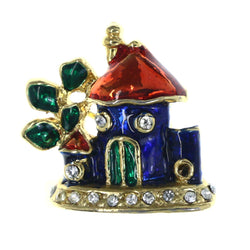House Tree Brooch-Pin With Crystal Accents Colorful & Gold-Tone Colored #LQP1429