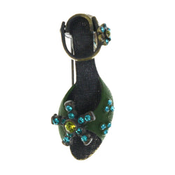 Antiqued Shoe Brooch-Pin With Crystal Accents Green & Gold-Tone Colored #LQP1432