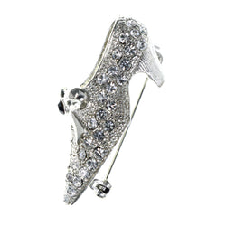 Shoe Brooch-Pin With Crystal Accents  Silver-Tone Color #LQP1445
