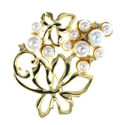 Flower Brooch-Pin With Bead Accents Gold-Tone & White Colored #LQP1452