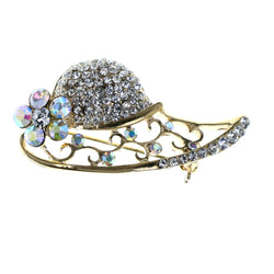 Sun Hat AB Finish Flower Brooch-Pin With Crystal Accents Gold-Tone Color #LQP1464