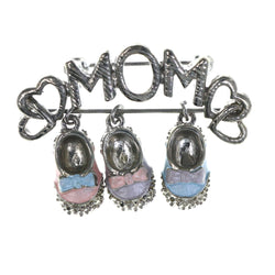 Mom  Heart Baby Shoes Brooch-Pin With Drop Accents Silver-Tone & Multi Colored #LQP1470