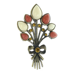 Bouquet Bow Brooch-Pin With Bead Accents Colorful & Gold-Tone Colored #LQP1476