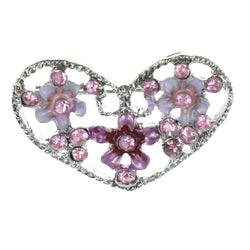 Flower Heart Brooch-Pin With Crystal Accents Silver-Tone & Pink Colored #LQP1480