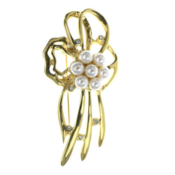 Flower Brooch-Pin With Bead Accents Gold-Tone & White Colored #LQP1500