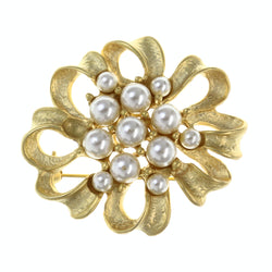 Ribbon Brooch-Pin With Bead Accents Gold-Tone & White Colored #LQP1501
