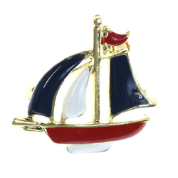 Sailboat Nautical Brooch-Pin Gold-Tone & Red White Blue Colored #LQP1503